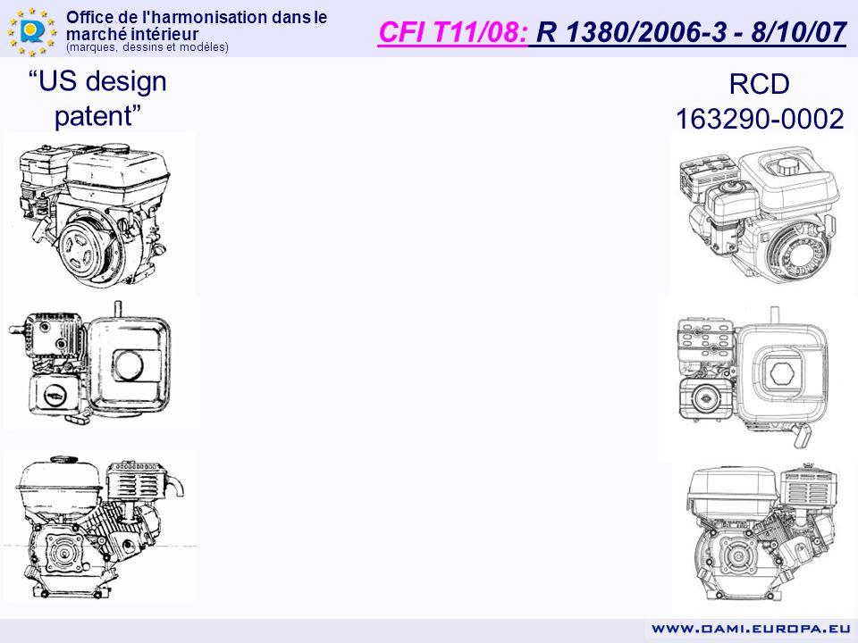 Office de l'harmonisation dans le marché intérieur (marques, dessins et modèles) RCD 163290-0002 US design patent CFI T11/08: R 1380/2006-3 - 8/10/07