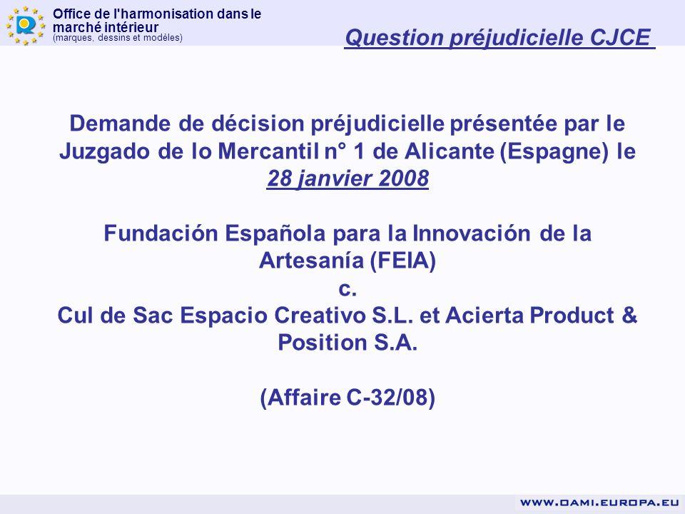 Office de l'harmonisation dans le marché intérieur (marques, dessins et modèles) Demande de décision préjudicielle présentée par le Juzgado de lo Merc