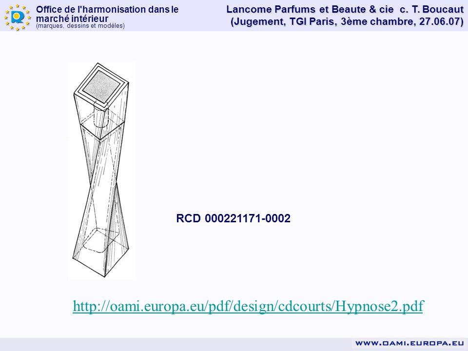 Office de l'harmonisation dans le marché intérieur (marques, dessins et modèles) Lancome Parfums et Beaute & cie c. T. Boucaut (Jugement, TGI Paris, 3