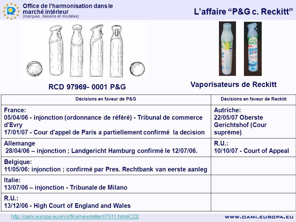 Office de l'harmonisation dans le marché intérieur (marques, dessins et modèles) Vaporisateurs de Reckitt RCD 97969- 0001 P&G Décisions en faveur de P
