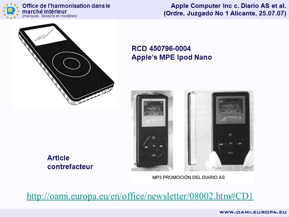 Office de l'harmonisation dans le marché intérieur (marques, dessins et modèles) Apple Computer Inc c. Diario AS et al. (Ordre, Juzgado No 1 Alicante,