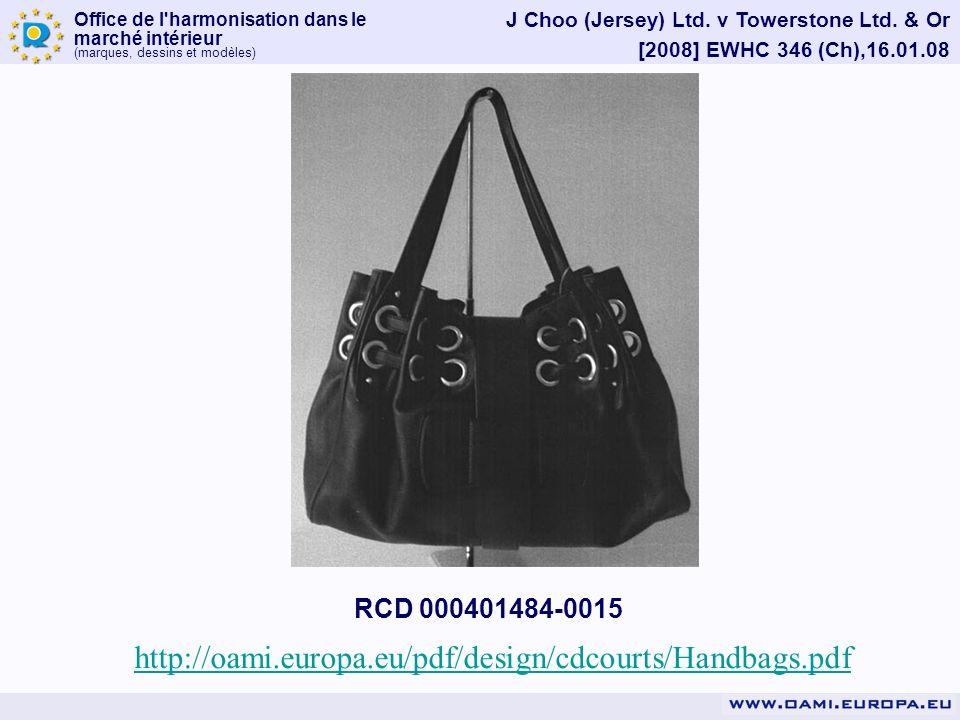 Office de l'harmonisation dans le marché intérieur (marques, dessins et modèles) J Choo (Jersey) Ltd. v Towerstone Ltd. & Or [2008] EWHC 346 (Ch),16.0