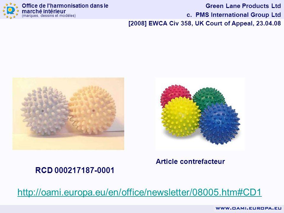 Office de l'harmonisation dans le marché intérieur (marques, dessins et modèles) Green Lane Products Ltd c. PMS International Group Ltd [2008] EWCA Ci