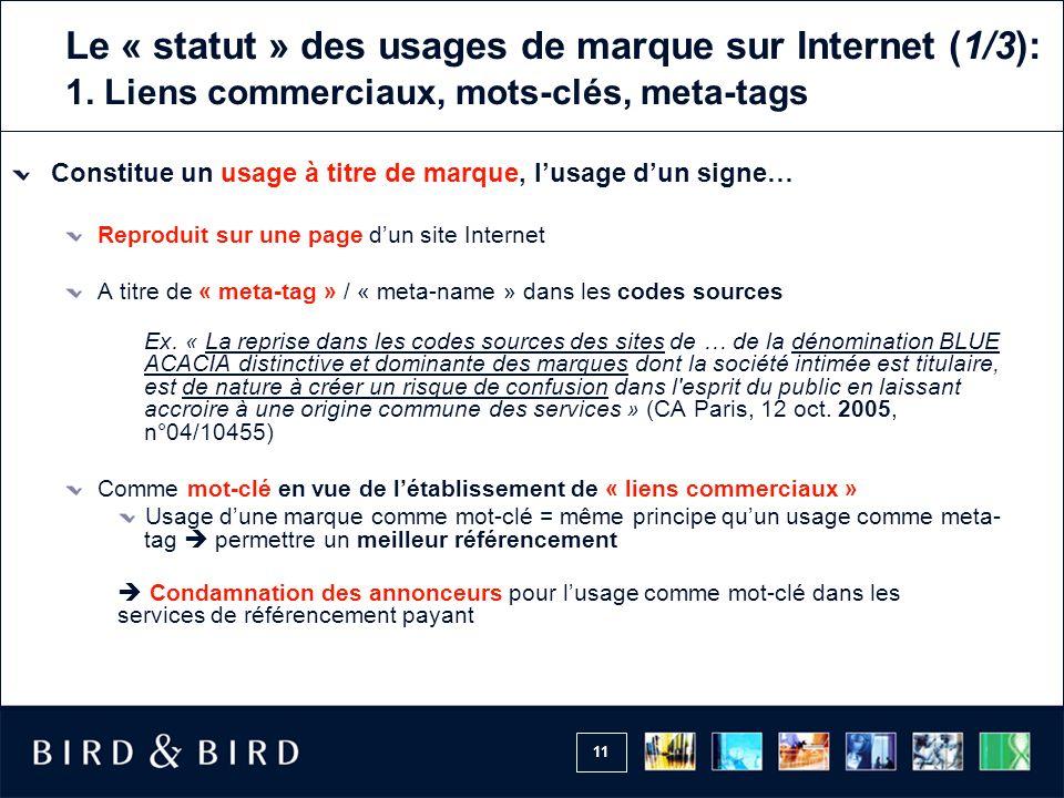11 Le « statut » des usages de marque sur Internet (1/3): 1.