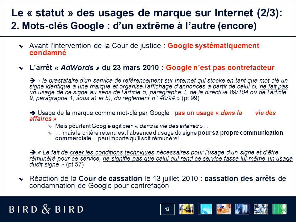 12 Le « statut » des usages de marque sur Internet (2/3): 2.