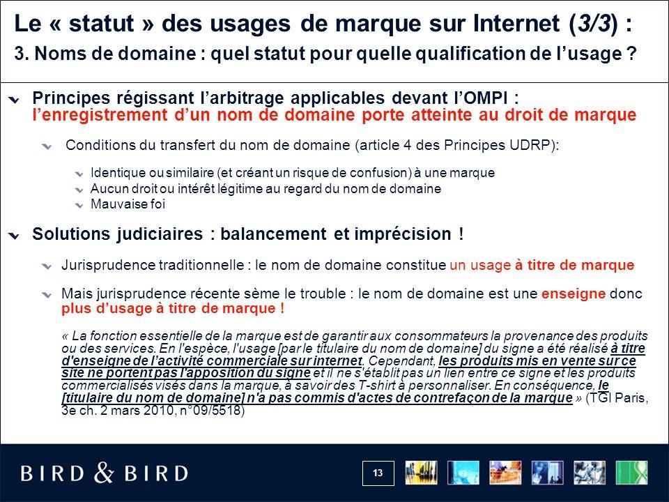13 Le « statut » des usages de marque sur Internet (3/3) : 3.