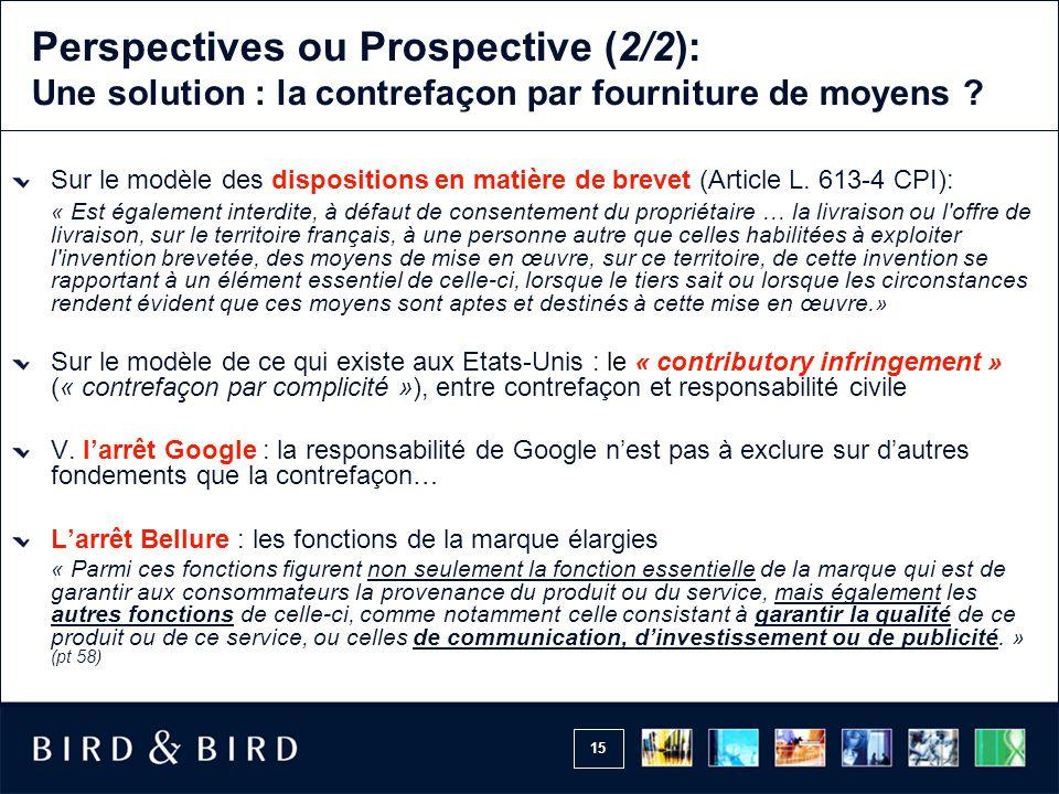 15 Perspectives ou Prospective (2/2): Une solution : la contrefaçon par fourniture de moyens .