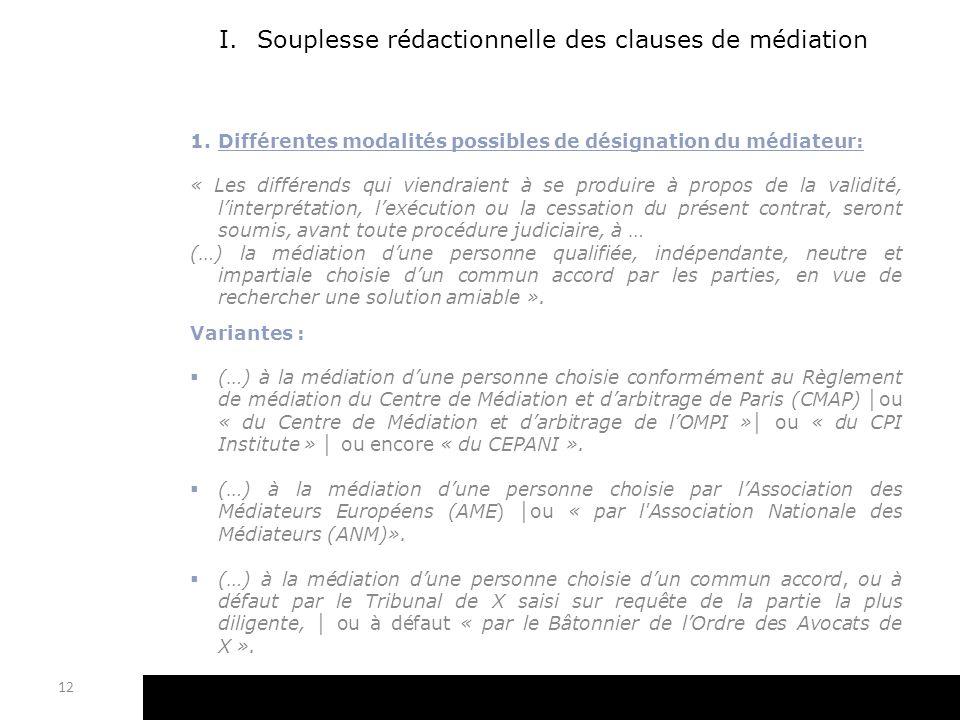I.Souplesse rédactionnelle des clauses de médiation 1.Différentes modalités possibles de désignation du médiateur: « Les différends qui viendraient à