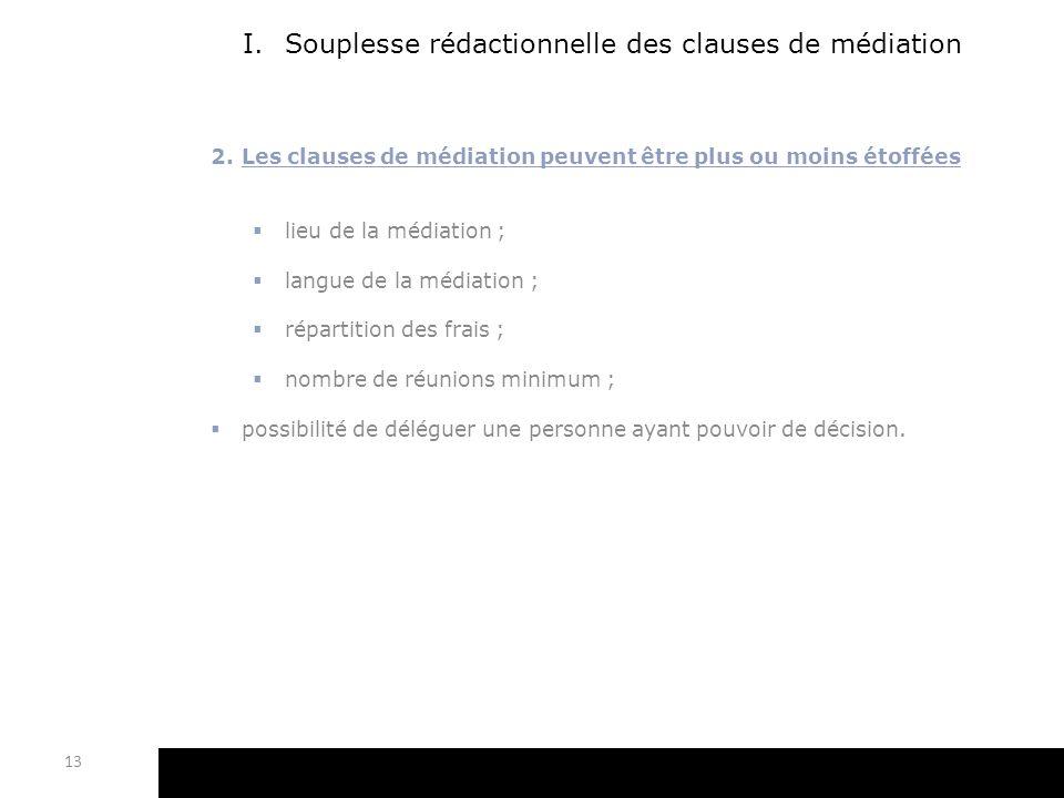 I.Souplesse rédactionnelle des clauses de médiation 2.Les clauses de médiation peuvent être plus ou moins étoffées lieu de la médiation ; langue de la