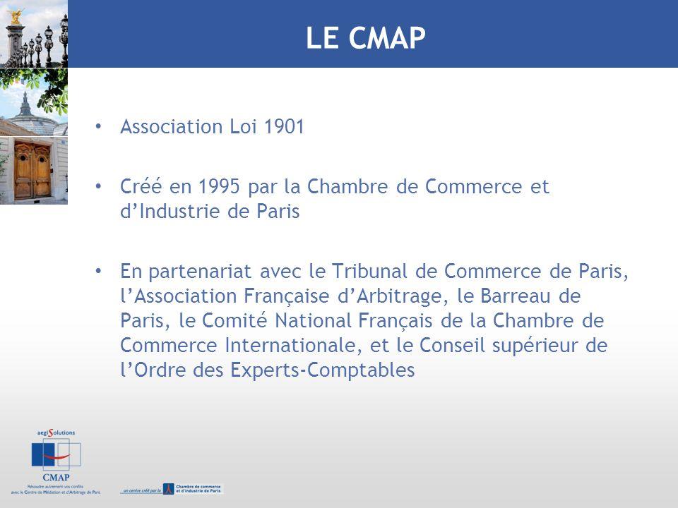 LE CMAP Association Loi 1901 Créé en 1995 par la Chambre de Commerce et dIndustrie de Paris En partenariat avec le Tribunal de Commerce de Paris, lAss