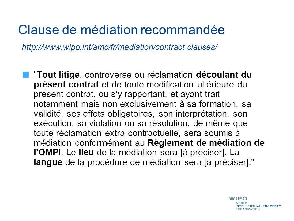 Clause de médiation recommandée http://www.wipo.int/amc/fr/mediation/contract-clauses/