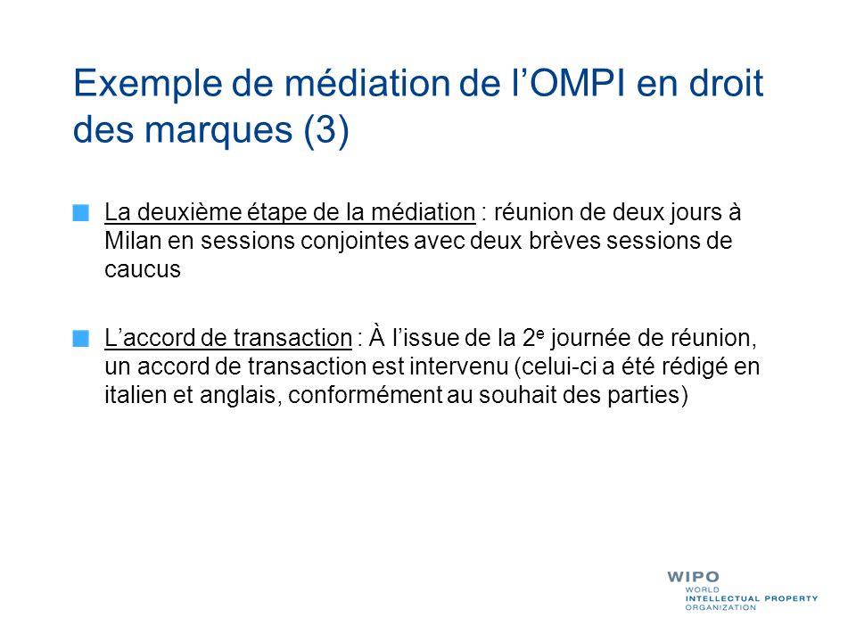 Exemple de médiation de lOMPI en droit des marques (3) La deuxième étape de la médiation : réunion de deux jours à Milan en sessions conjointes avec d