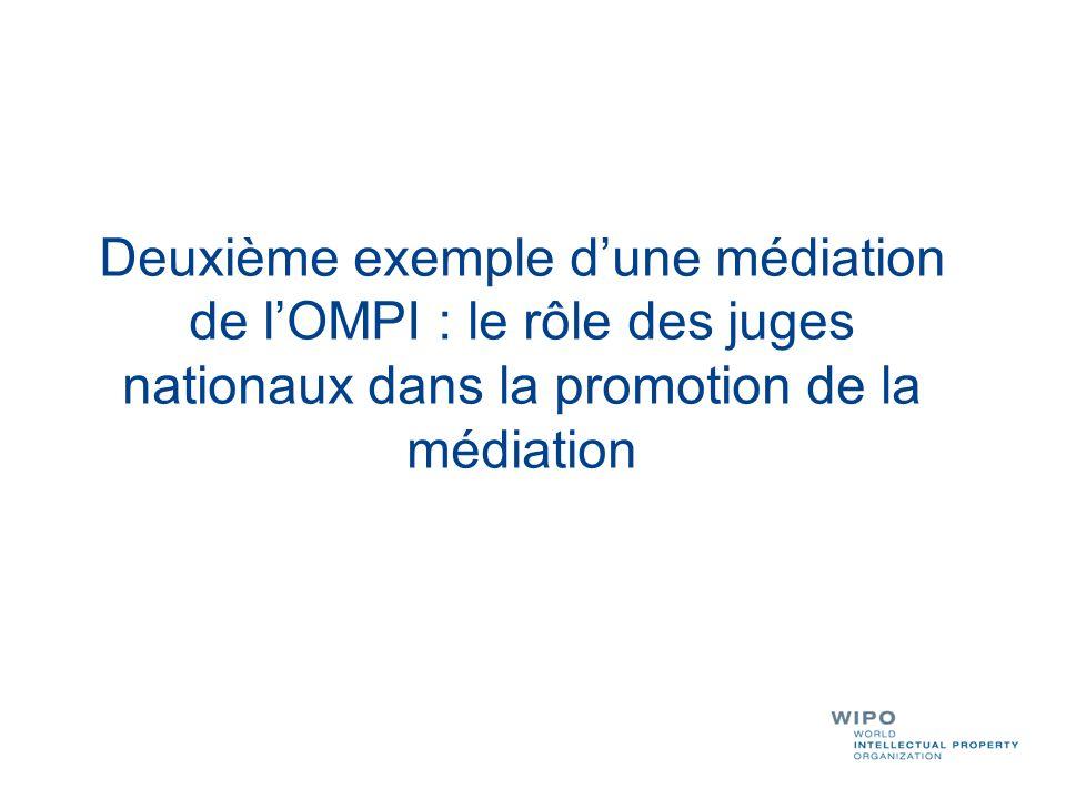 Deuxième exemple dune médiation de lOMPI : le rôle des juges nationaux dans la promotion de la médiation
