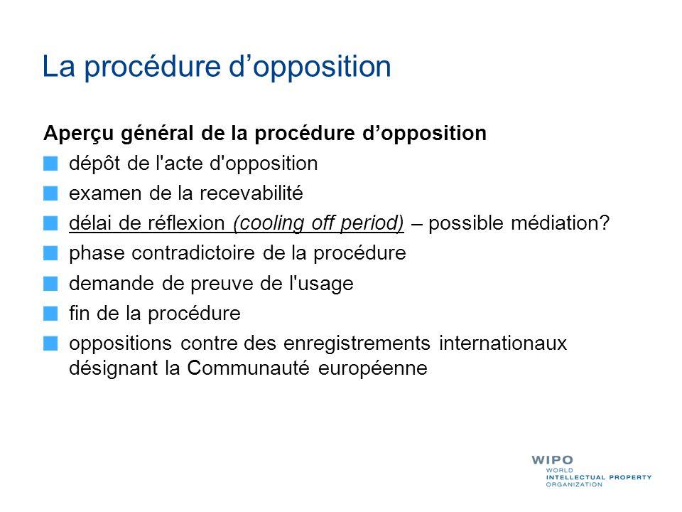 La procédure dopposition Aperçu général de la procédure dopposition dépôt de l'acte d'opposition examen de la recevabilité délai de réflexion (cooling