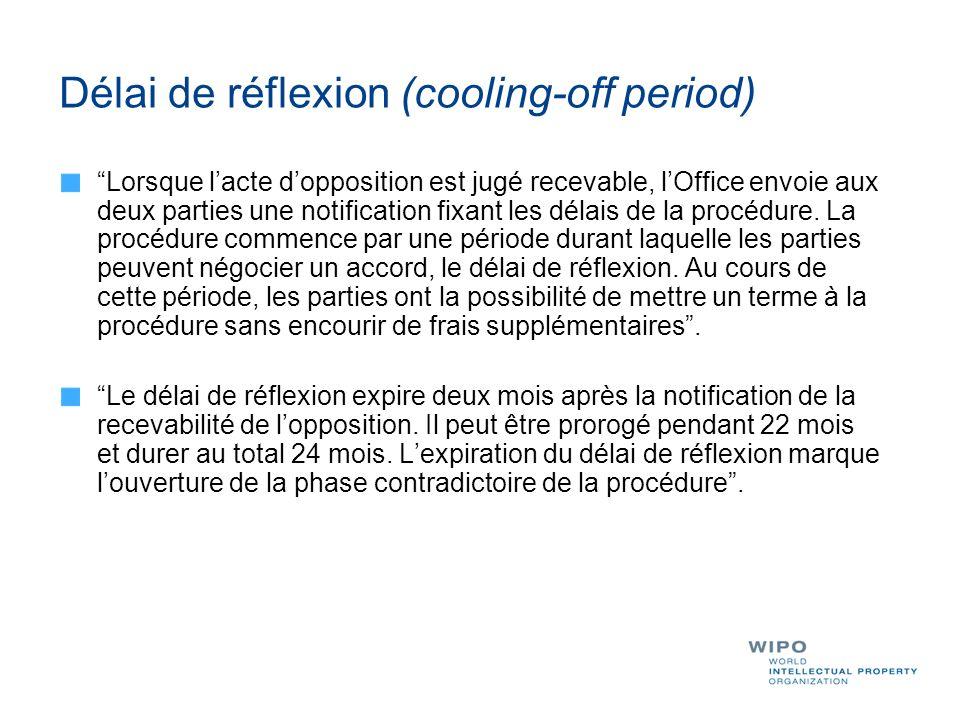 Délai de réflexion (cooling-off period) Lorsque lacte dopposition est jugé recevable, lOffice envoie aux deux parties une notification fixant les déla