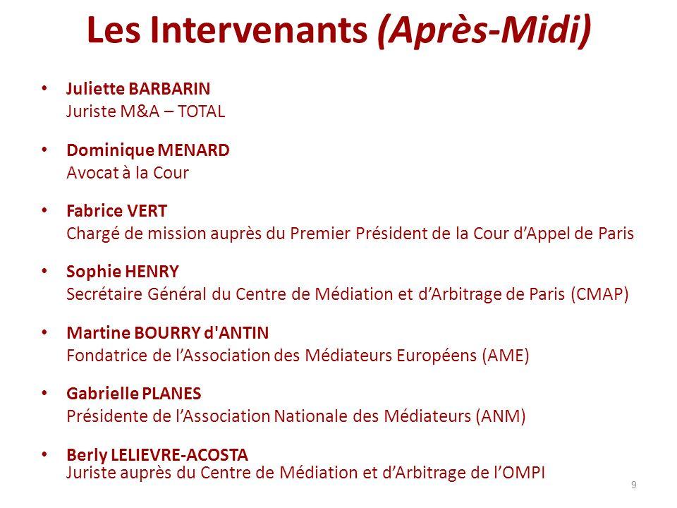 9 Les Intervenants (Après-Midi) Juliette BARBARIN Juriste M&A – TOTAL Dominique MENARD Avocat à la Cour Fabrice VERT Chargé de mission auprès du Premi