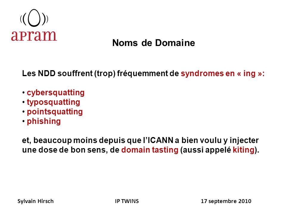 Les NDD souffrent (trop) fréquemment de syndromes en « ing »: cybersquatting typosquatting pointsquatting phishing et, beaucoup moins depuis que lICAN