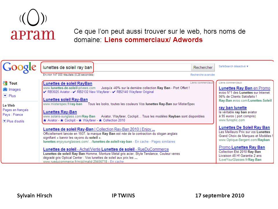 Sylvain Hirsch IP TWINS 17 septembre 2010 Ce que lon peut aussi trouver sur le web, hors noms de domaine: Liens commerciaux/ Adwords