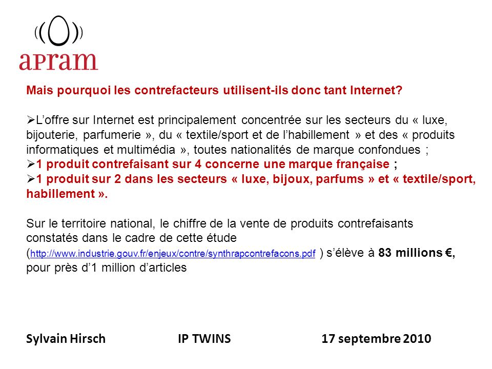 Sylvain Hirsch IP TWINS 17 septembre 2010 Mais pourquoi les contrefacteurs utilisent-ils donc tant Internet? Loffre sur Internet est principalement co