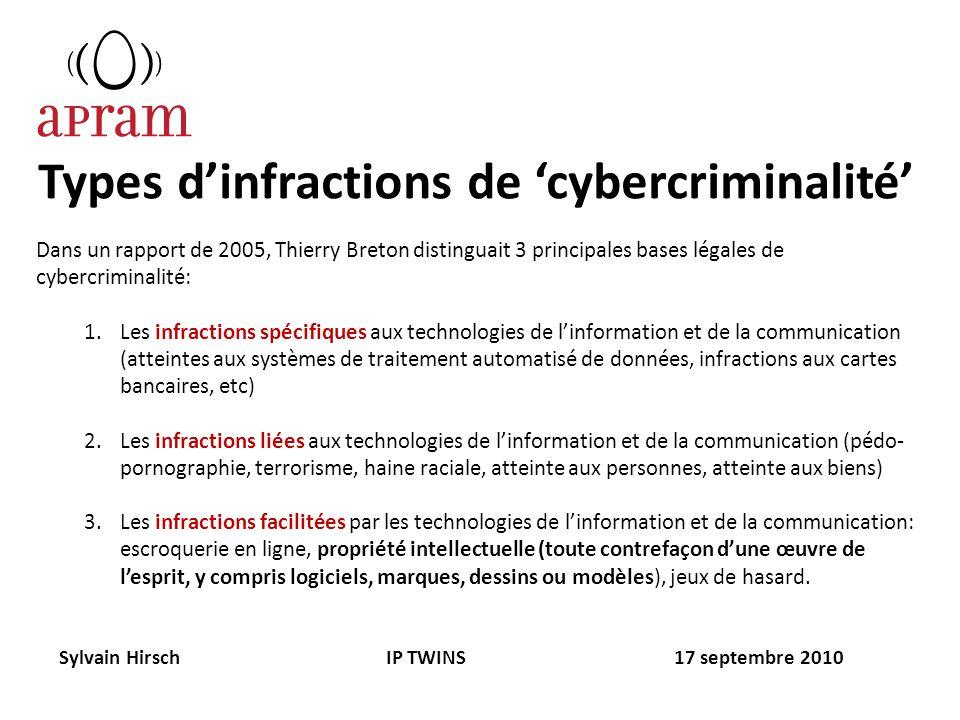 Types dinfractions de cybercriminalité Dans un rapport de 2005, Thierry Breton distinguait 3 principales bases légales de cybercriminalité: 1.Les infr