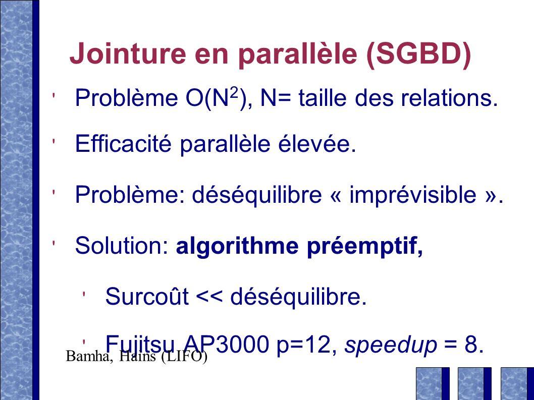 Jointure en parallèle (SGBD) Problème O(N 2 ), N= taille des relations.