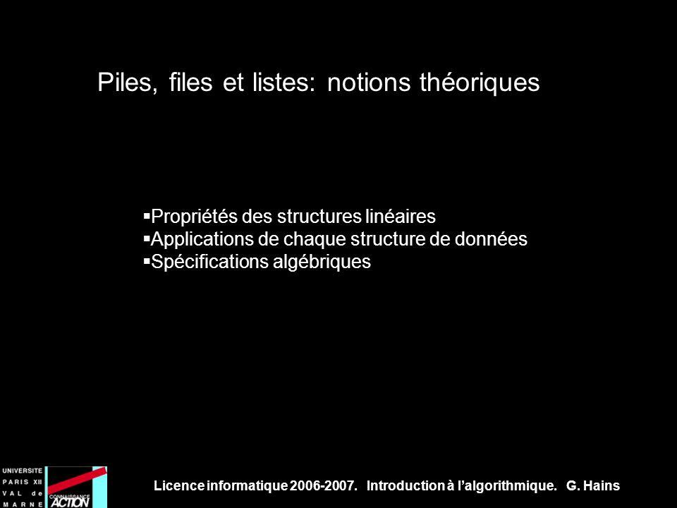 Licence informatique 2006-2007. Introduction à lalgorithmique. G. Hains Piles, files et listes: notions théoriques Propriétés des structures linéaires