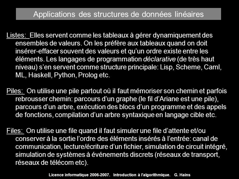 Licence informatique 2006-2007. Introduction à lalgorithmique. G. Hains Listes: Elles servent comme les tableaux à gérer dynamiquement des ensembles d