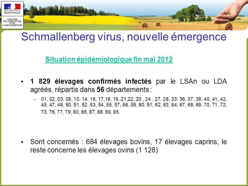 Schmallenberg virus, nouvelle émergence Situation épidémiologique fin mai 2012 1 829 élevages confirmés infectés par le LSAn ou LDA agréés, répartis d