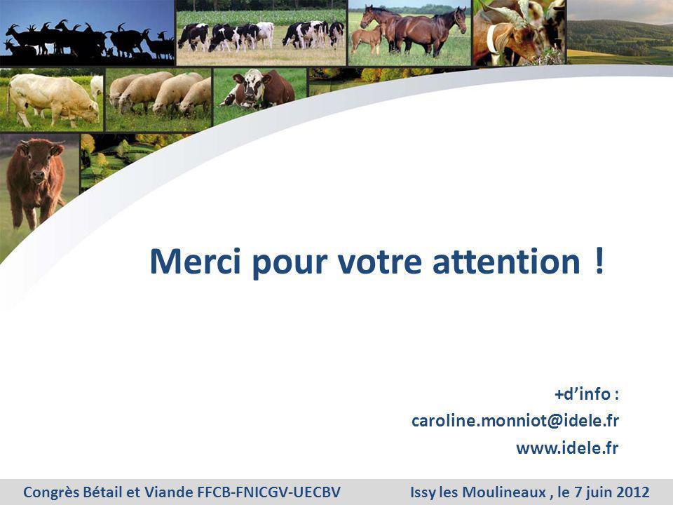 Merci pour votre attention ! +dinfo : caroline.monniot@idele.fr www.idele.fr Congrès Bétail et Viande FFCB-FNICGV-UECBV Issy les Moulineaux, le 7 juin