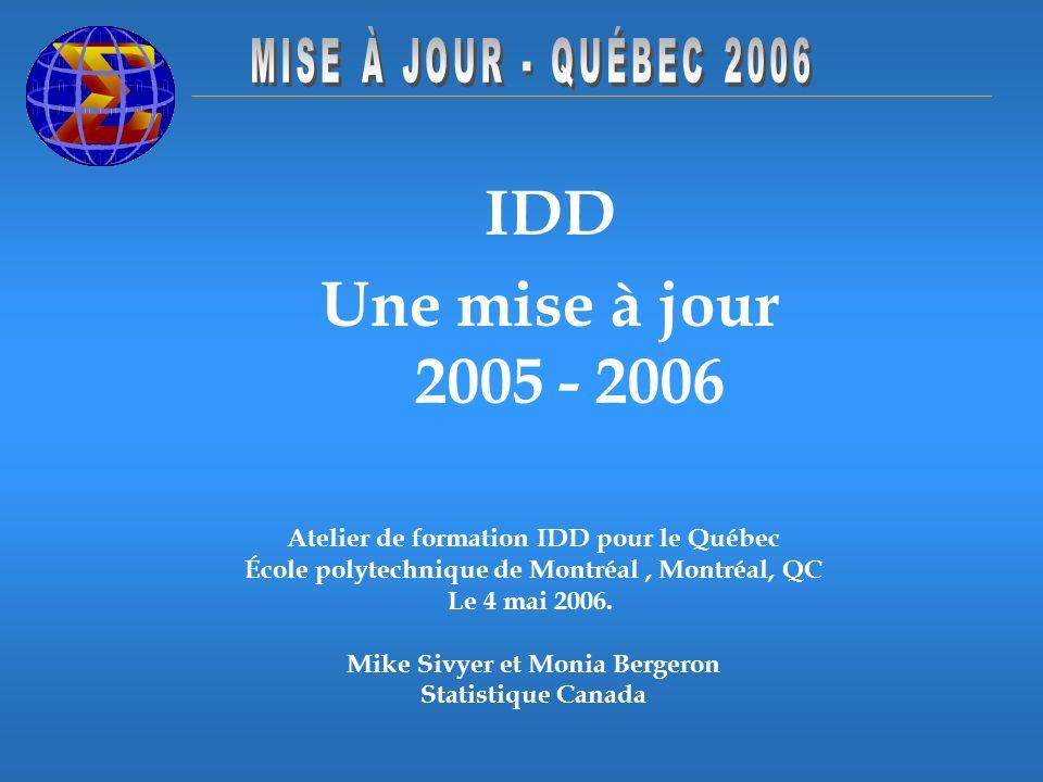 IDD Une mise à jour 2005 - 2006 Atelier de formation IDD pour le Québec École polytechnique de Montréal, Montréal, QC Le 4 mai 2006. Mike Sivyer et Mo