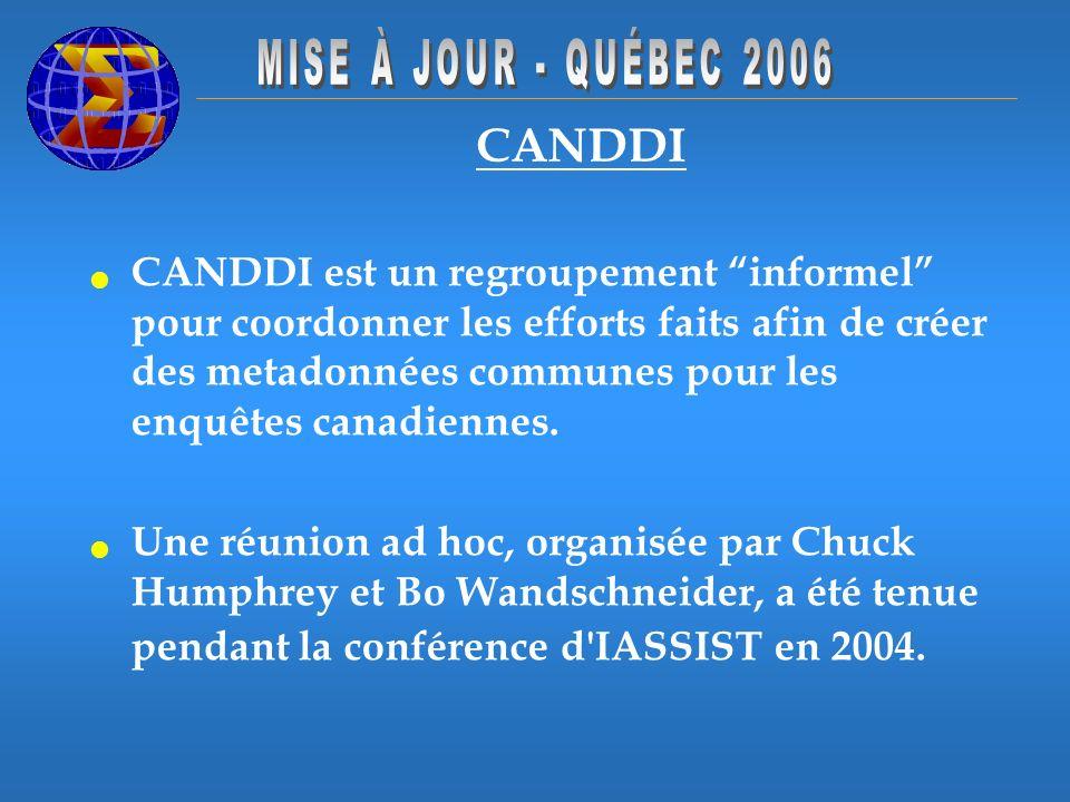 CANDDI CANDDI est un regroupement informel pour coordonner les efforts faits afin de créer des metadonnées communes pour les enquêtes canadiennes. Une