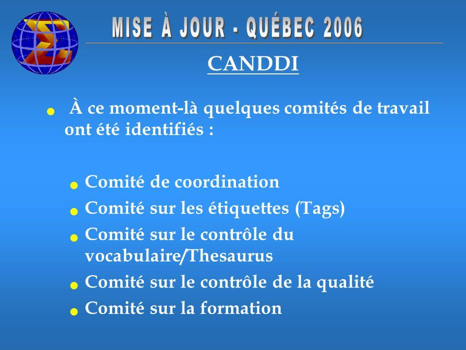 CANDDI À ce moment-là quelques comités de travail ont été identifiés : Comité de coordination Comité sur les étiquettes (Tags) Comité sur le contrôle