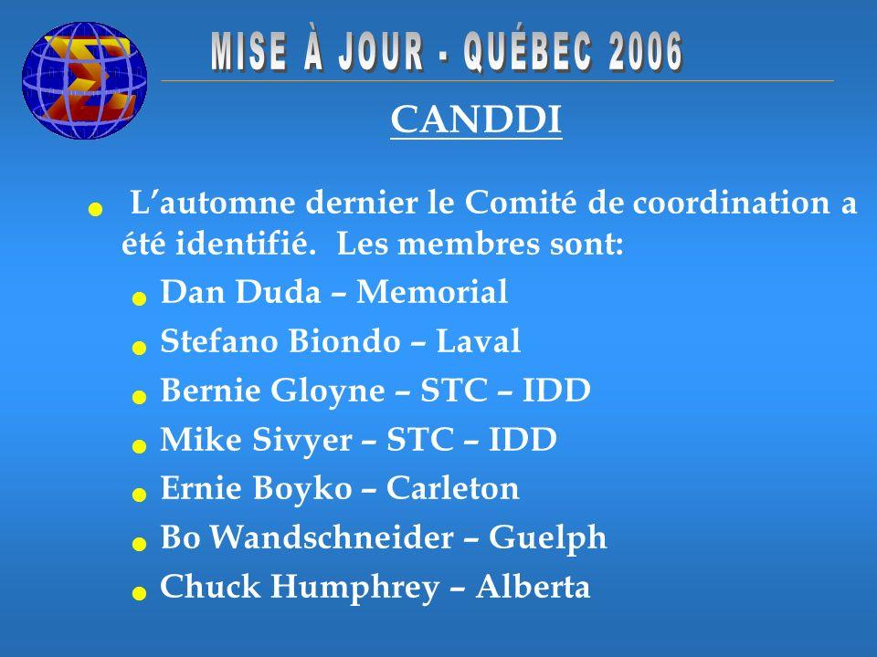 CANDDI Lautomne dernier le Comité de coordination a été identifié. Les membres sont: Dan Duda – Memorial Stefano Biondo – Laval Bernie Gloyne – STC –