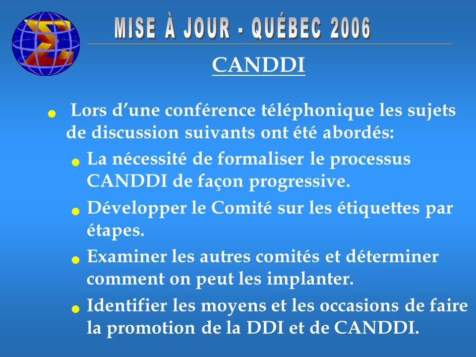 CANDDI Lors dune conférence téléphonique les sujets de discussion suivants ont été abordés: La nécessité de formaliser le processus CANDDI de façon progressive.