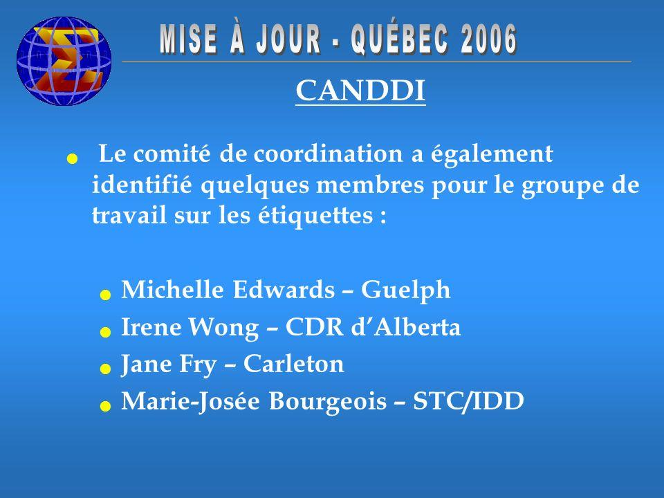 CANDDI Le comité de coordination a également identifié quelques membres pour le groupe de travail sur les étiquettes : Michelle Edwards – Guelph Irene Wong – CDR dAlberta Jane Fry – Carleton Marie-Josée Bourgeois – STC/IDD.