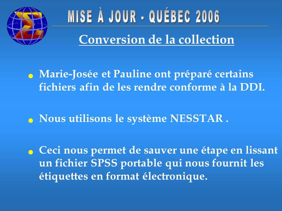 Conversion de la collection Marie-Josée et Pauline ont préparé certains fichiers afin de les rendre conforme à la DDI. Nous utilisons le système NESST