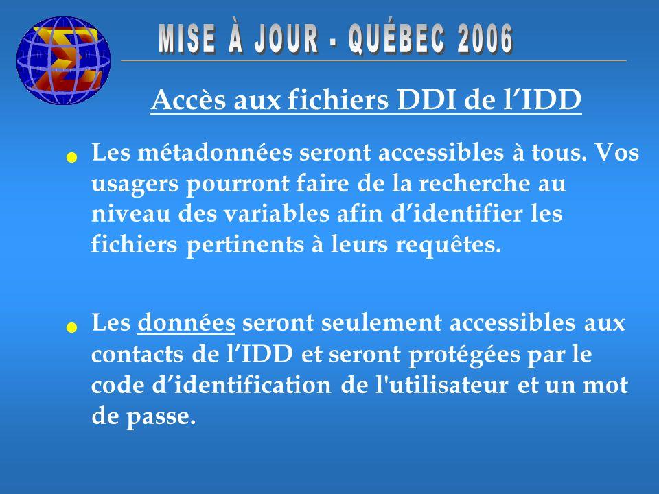 Accès aux fichiers DDI de lIDD Les métadonnées seront accessibles à tous. Vos usagers pourront faire de la recherche au niveau des variables afin dide