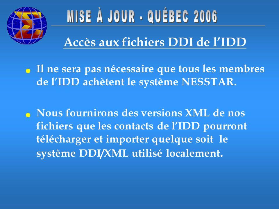 Accès aux fichiers DDI de lIDD Il ne sera pas nécessaire que tous les membres de lIDD achètent le système NESSTAR. Nous fournirons des versions XML de
