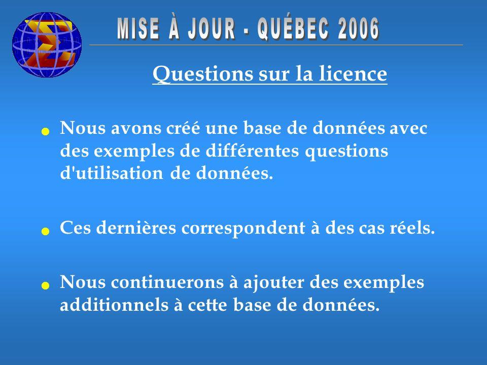 Questions sur la licence Nous avons créé une base de données avec des exemples de différentes questions d'utilisation de données. Ces dernières corres