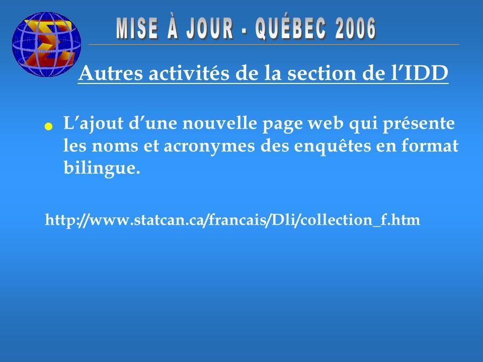 Autres activités de la section de lIDD Lajout dune nouvelle page web qui présente les noms et acronymes des enquêtes en format bilingue. http://www.st