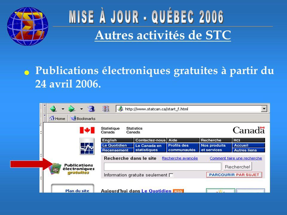 Autres activités de STC Publications électroniques gratuites à partir du 24 avril 2006.