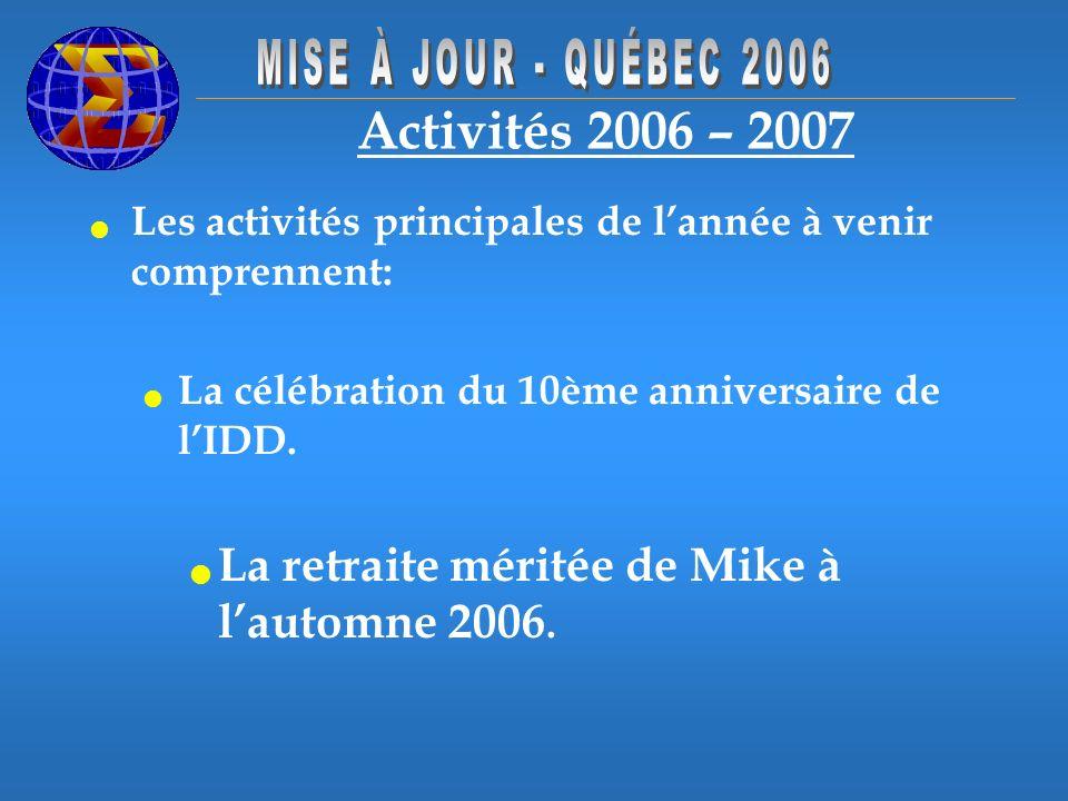Activités 2006 – 2007 Les activités principales de lannée à venir comprennent: La célébration du 10ème anniversaire de lIDD. La retraite méritée de Mi