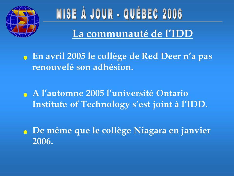 La communauté de lIDD En avril 2005 le collège de Red Deer na pas renouvelé son adhésion. A lautomne 2005 luniversité Ontario Institute of Technology
