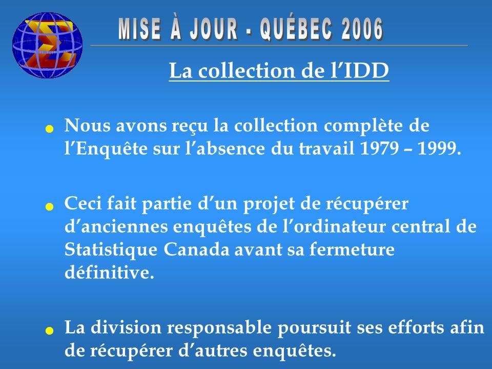 La collection de lIDD Nous avons reçu la collection complète de lEnquête sur labsence du travail 1979 – 1999. Ceci fait partie dun projet de récupérer