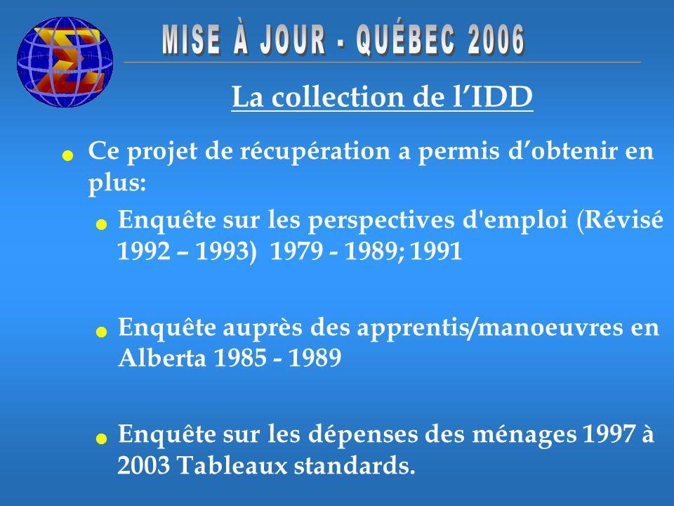 La collection de lIDD Ce projet de récupération a permis dobtenir en plus: Enquête sur les perspectives d emploi ( Révisé 1992 – 1993) 1979 - 1989; 1991 Enquête auprès des apprentis/manoeuvres en Alberta 1985 - 1989 Enquête sur les dépenses des ménages 1997 à 2003 Tableaux standards.