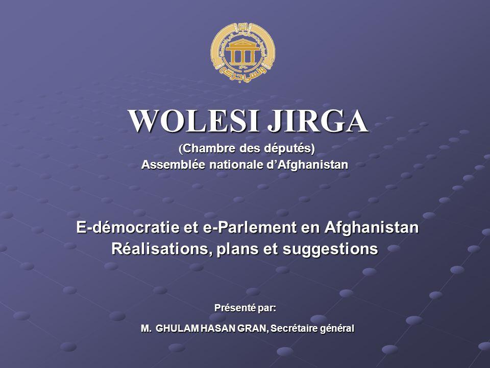 WOLESI JIRGA WOLESI JIRGA ( Chambre des députés) ( Chambre des députés) Assemblée nationale dAfghanistan E-démocratie et e-Parlement en Afghanistan E-démocratie et e-Parlement en Afghanistan Réalisations, plans et suggestions Présenté par: M.