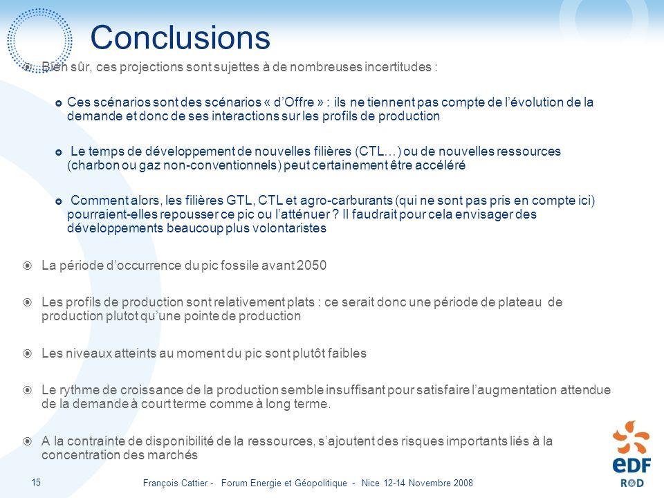 François Cattier - Forum Energie et Géopolitique - Nice 12-14 Novembre 2008 15 Conclusions Bien sûr, ces projections sont sujettes à de nombreuses inc
