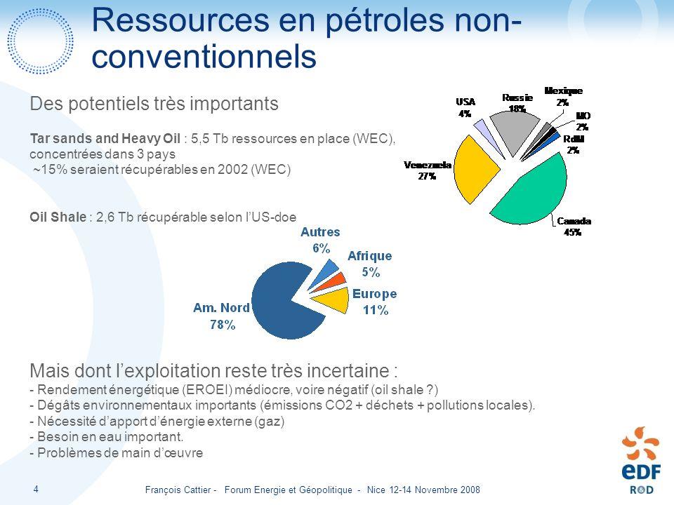 François Cattier - Forum Energie et Géopolitique - Nice 12-14 Novembre 2008 4 Ressources en pétroles non- conventionnels Des potentiels très important