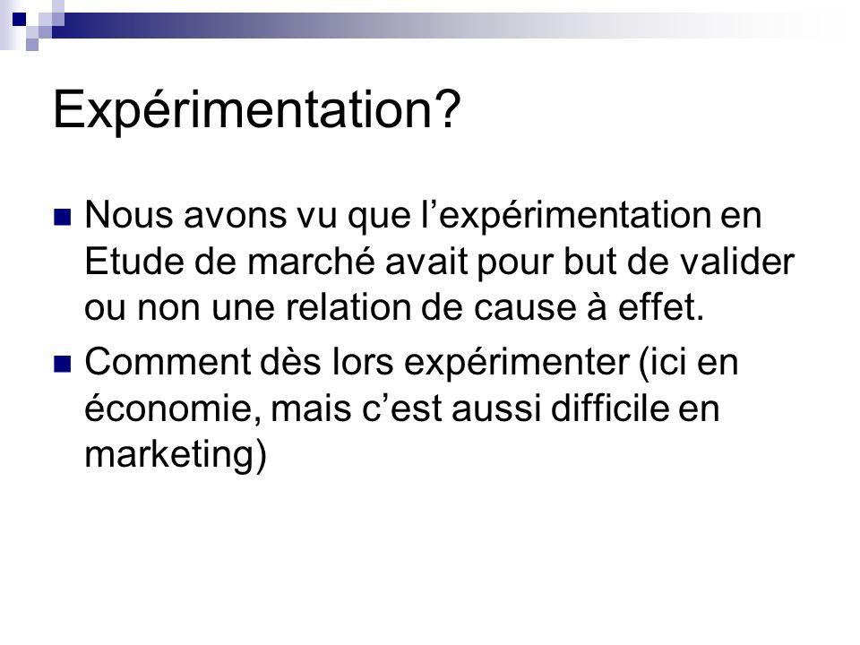 Expérimentation? Nous avons vu que lexpérimentation en Etude de marché avait pour but de valider ou non une relation de cause à effet. Comment dès lor