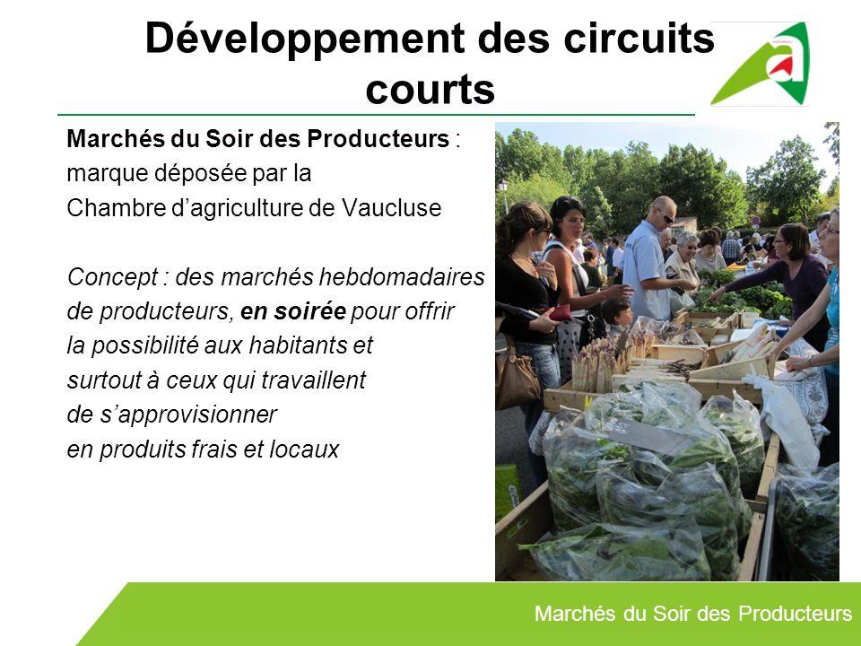 Développement des circuits courts Marchés du Soir des Producteurs : marque déposée par la Chambre dagriculture de Vaucluse Concept : des marchés hebdo